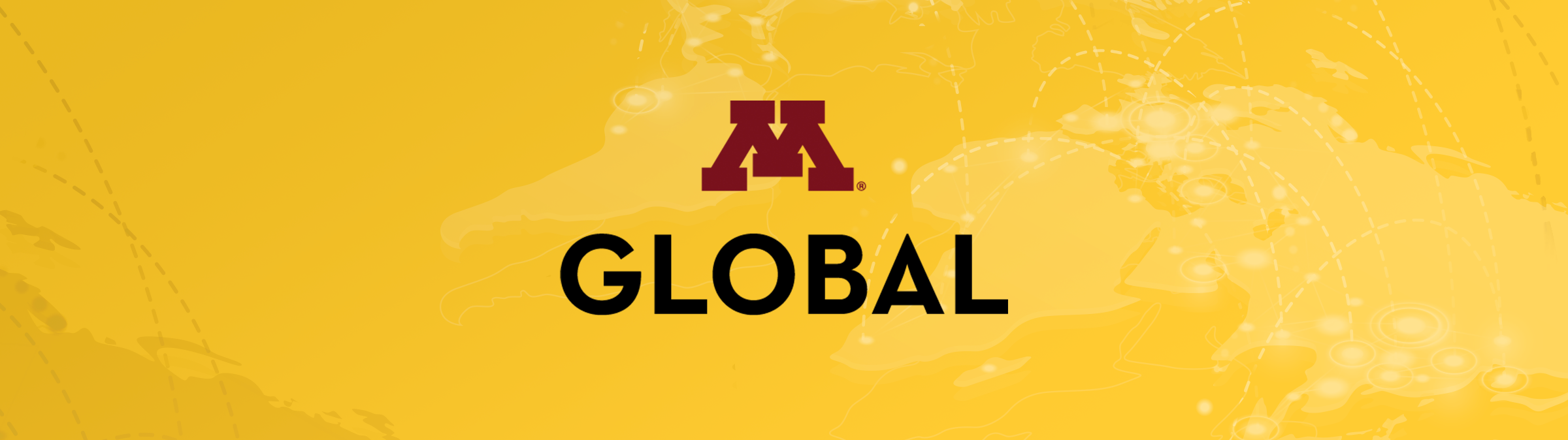 gold box with globe and country pattern and M Global logo with the maroon UMN block M and the nword global