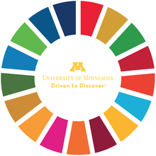 A circle of alternating colors surrounds the University of Minnesota logo.