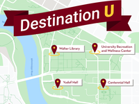 map highlighting locations in Destination U video project