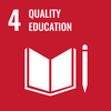 Text: 4 Quality Education, Icon: Book and pencil
