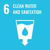 Text: 6 Clean Water and Sanitation, Icon: Glass with water in it and an arrow at the bottom, a water drop in the middle