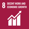 Text 8: Decent Work and Economic Growth, Icon: Graph with arrow going up