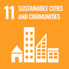 Text: 11 Sustainable Cities and Communities, Icon: City buildings
