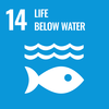 Text: 14 Life Below Water, Icon: Waves and fish symbols